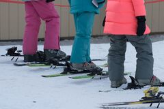 O começo de Ski School Fotos de Stock Royalty Free