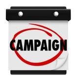 O começo do lançamento da campanha começa data de dia do calendário circundada Foto de Stock Royalty Free