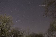 O cometa o mais brilhante do cometa 46P/Wirtanen 2018 ' foto de stock royalty free