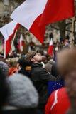 O comitê do protesto a defesa da democracia, Poznan, Polônia Fotografia de Stock