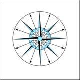 O compasso azul e branco para indicar o polo é usado como um sinal nos mapas imagens de stock royalty free