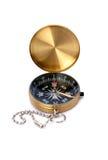 O compasso dourado isolou-se Fotografia de Stock