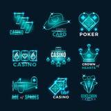 O competiam de néon e o casino do pôquer do vintage vector ícones Foto de Stock Royalty Free