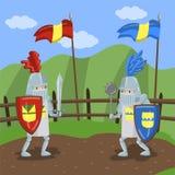O competiam medieval das malhas, dois amed os cavaleiros que jousting na ilustração do vetor do fundo da paisagem do verão ilustração stock