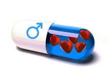 O comprimido encheu-se com os corações com símbolo dos homens ilustração do vetor