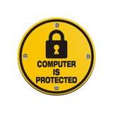 O computador é protegido - sinais do círculo Imagem de Stock