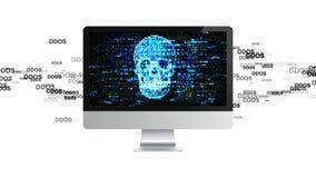 O computador é quebrado Ataque de DDOS, Trojan da infecção, ataques do vírus Fotografia de Stock Royalty Free