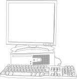 O computador com o monitor e o teclado Imagem de Stock