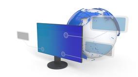 O computador e os menus são sujeitos ao fundo, rendição 3d Imagem de Stock