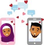 O conceito árabe liso do amante do vetor na tela do smartphone enviou uma mensagem do amor Foto de Stock