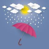 O conceito é estação das chuvas guarda-chuva do guarda-chuva no ar com c Imagens de Stock