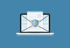 O conceito é segurança de dados O protetor no computador Labtop protege sens Fotos de Stock Royalty Free