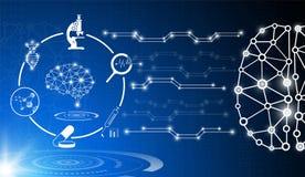 O conceito abstrato da tecnologia do fundo na luz azul, o cérebro e o corpo humano curam ilustração royalty free