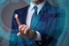 O conceito biométrico da identificação com impressões digitais Fotografia de Stock