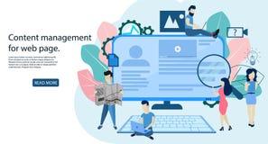 O conceito Blogging, satisfaz a gestão para o página da web ilustração stock
