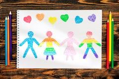 O conceito da amizade Povos de papel da boneca cortados do papel foto de stock