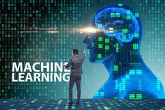 O conceito da aprendizagem de máquina como a tecnologia moderna fotos de stock