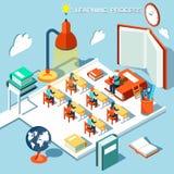 O conceito da aprendizagem, leu livros na biblioteca, projeto liso isométrico da sala de aula Imagens de Stock