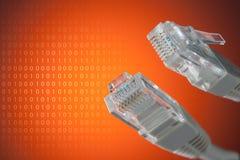 O conceito da conexão ao Internet Close-up da tomada RJ45 foto de stock