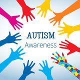 O conceito da conscientização do autismo com mão do enigma remenda ilustração stock