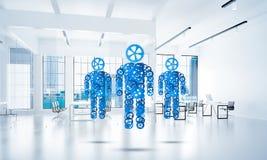 O conceito da cooperação ou a parceria com as três figuras apresentam Imagens de Stock