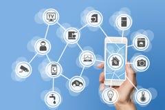 O conceito da domótica com a mão que guarda o telefone esperto moderno para controlar os dispositivos home gosta de um termostato fotografia de stock