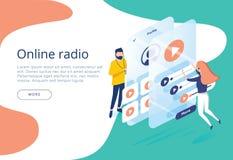 O conceito da escuta de fluência de rádio em linha do Internet, pessoa relaxa para escutar dança Aplicações da música, lista de m ilustração stock