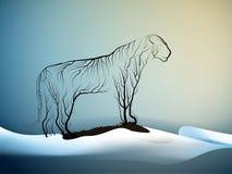 O conceito da extinção do tigre, espírito dos tigres de morte devidos as alterações climáticas, olhar do tigre como ramos de árvo ilustração do vetor