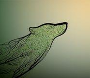 O conceito da extinção dos lobos, espírito do lobo de morte devido a extinção da floresta, olhar do lobo como ramos de árvore, pr ilustração do vetor
