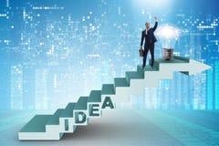 O conceito da ideia com as escadas de escalada das etapas do homem de negócios Fotos de Stock Royalty Free