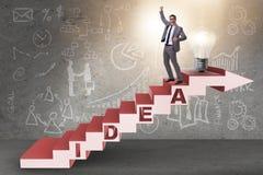 O conceito da ideia com as escadas de escalada das etapas do homem de negócios Fotografia de Stock Royalty Free