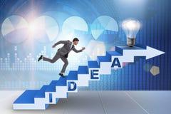 O conceito da ideia com as escadas de escalada das etapas do homem de negócios Imagens de Stock Royalty Free