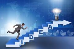 O conceito da ideia com as escadas de escalada das etapas do homem de negócios Fotos de Stock