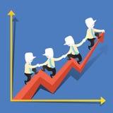 O conceito da ilustração do desempenho da cooperação cresce Fotografia de Stock
