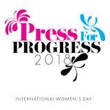 O conceito da imprensa para o progresso projetou em um fundo branco para o dia do ` s das mulheres Foto de Stock