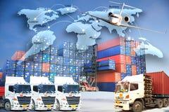 O conceito da logística, traça a tecnologia int da conexão de negócio global foto de stock