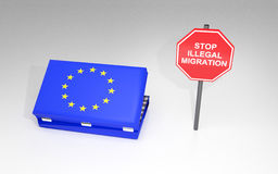 O conceito da migração ilegal Fotografia de Stock Royalty Free