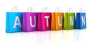 O conceito da venda do outono com saco de compras, 3d rende Imagens de Stock Royalty Free