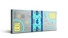 o conceito das contas de dinheiro virtuais 3d da cédula do dinheiro do bitcoin rende Fotografia de Stock Royalty Free