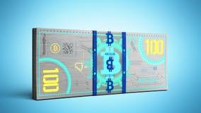 o conceito das contas de dinheiro virtuais 3d da cédula do dinheiro do bitcoin rende Fotos de Stock
