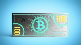 o conceito das contas de dinheiro virtuais 3d da cédula do bitcoin rende em azul Fotografia de Stock Royalty Free