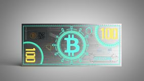 o conceito das contas de dinheiro virtuais 3d da cédula do bitcoin rende no gre Imagem de Stock