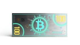 o conceito das contas de dinheiro virtuais 3d da cédula do bitcoin rende no whi Foto de Stock Royalty Free