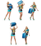 O conceito das férias do curso com bagagem no branco Foto de Stock