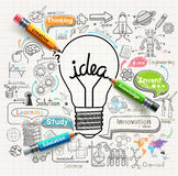 O conceito das ideias da ampola rabisca os ícones ajustados ilustração stock