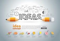 O conceito das ideias do lápis do vetor rabisca os ícones ajustados ilustração royalty free