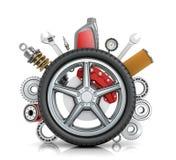O conceito das rodas do caminhão com detalhes ilustração stock