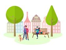 O conceito de amantes do lazer em um parque da cidade ilustração stock