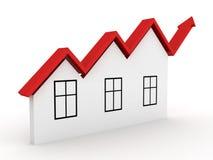 O conceito de aumentação dos bens imobiliários abriga a seta que cresce acima Foto de Stock Royalty Free
