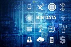 O conceito de computação moderno dos dados grandes imagem de stock